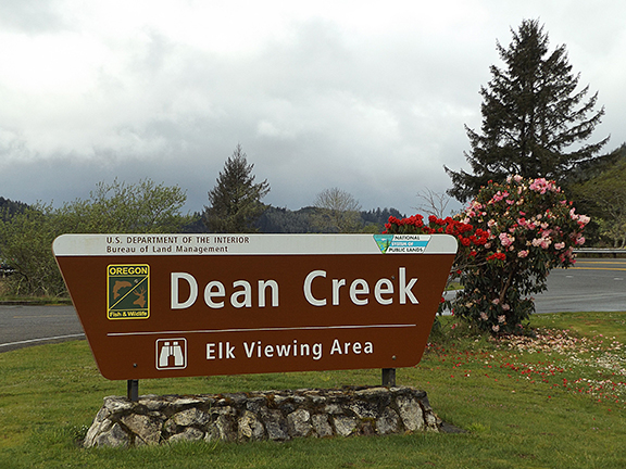 Dean Creek Elk Viewing Area sign