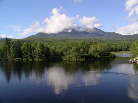 Mount Kathadin-reflecting-in-Penobscot-River-near-Millinocket-Maine