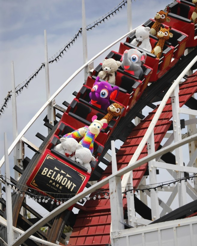 stuffed-animals-on-Giant-Dipper-Belmont-Park-San-Diego