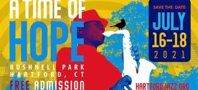 The 2021 Greater Hartford Jazz Festival banner with a man playing a saxophone and a bird percned on the neck of the saxophone
