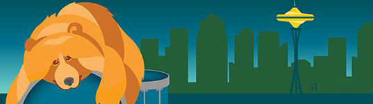 A picture of the ZooTunes 2021 banner with a bear lying on a ball with the Seattle skyline and Space Needle in the background